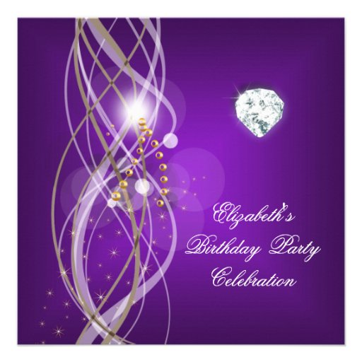 Elegant Purple Gold Floral Diamond Birthday Party Custom Invitations