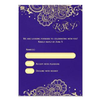 Elegant Purple Gold Henna Lace RSVP Card