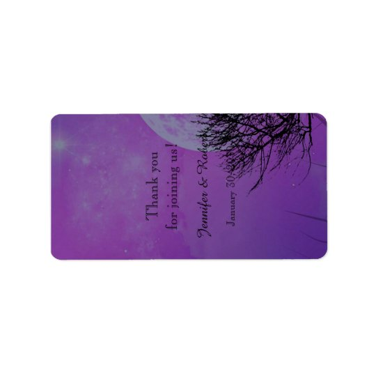 Elegant Purple Gothic Night Wedding Lip Balm Label Address Label