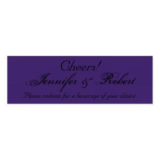 Elegant Purple Gothic Posh Wedding Drink Tickets Business Card