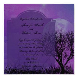 "Elegant Purple Gothic Posh Wedding Invitation 5.25"" Square Invitation Card"