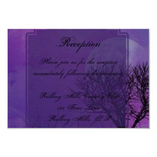 "Elegant Purple Gothic Posh Wedding Reception 3.5"" X 5"" Invitation Card"