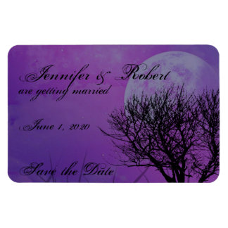 Elegant Purple Gothic Posh Wedding Save the Date Magnets
