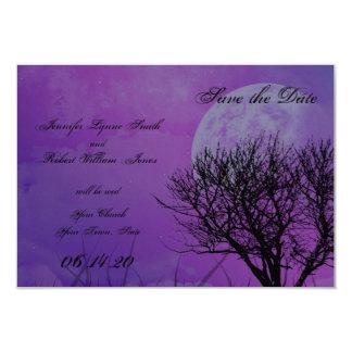 "Elegant Purple Gothic Posh Wedding Save the Date 3.5"" X 5"" Invitation Card"