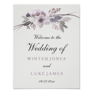 Elegant Purple Gray Winter Floral Wedding Poster