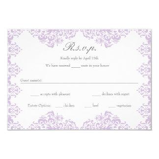 Elegant Purple & Grey Damask Wedding RSVP cards 9 Cm X 13 Cm Invitation Card
