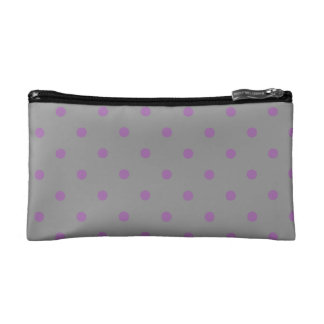 elegant purple grey polka dots cosmetic bag