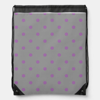 elegant purple grey polka dots drawstring bag