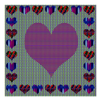 Elegant Purple Heart Abstract Artistic Creation Poster