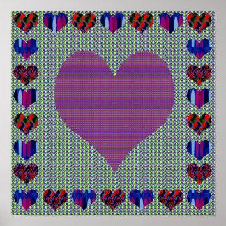 Elegant Purple Heart Abstract Artistic Creation Print