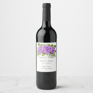 Elegant Purple Hydrangea Wedding  Wine Label