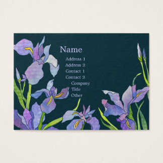 Elegant Purple Iris Navy Blue Business Cards