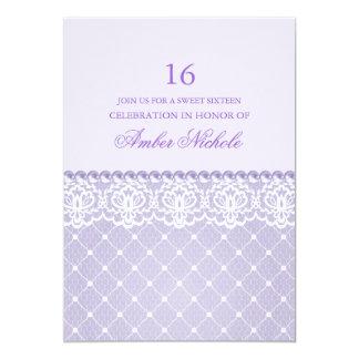 "Elegant Purple Lace & pearl   Sweet 16 Invite 5"" X 7"" Invitation Card"