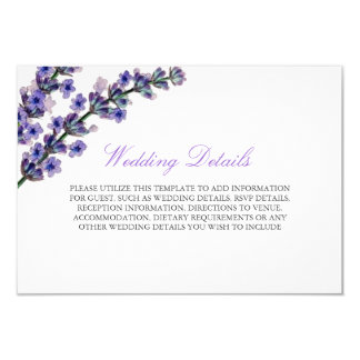 Elegant Purple Lavender Reception Details Card