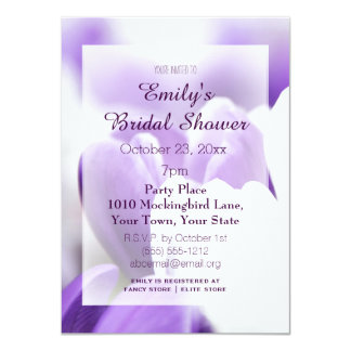 Elegant Purple Lavender White Tulip Bridal Shower 11 Cm X 16 Cm Invitation Card