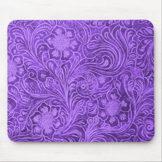 Elegant Purple Leather Look Floral Embossed Design Mouse Pad