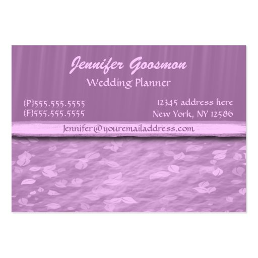 Elegant purple leaves chubby business cards