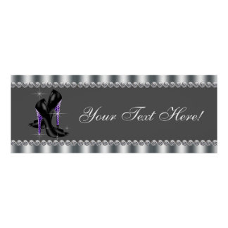 Elegant Purple Leopard High Heel Shoe Party Banner Poster