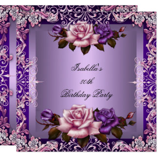 Elegant Purple Lilac Pink Rose 80th Birthday Party Card