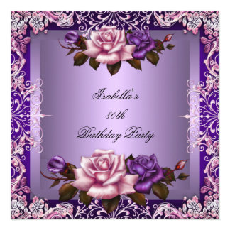 Elegant Purple Lilac Pink Rose 80th Birthday Party Card