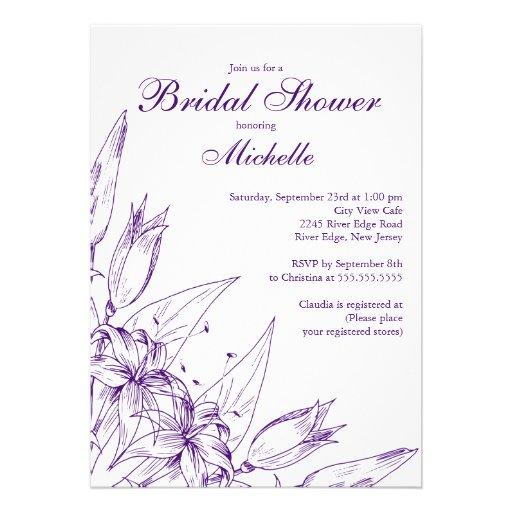Elegant Purple Lily  Bridal Shower Invitation