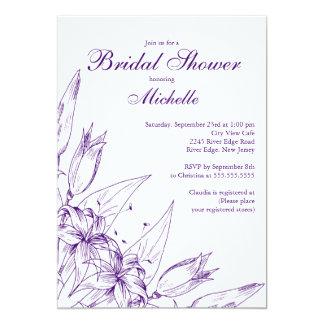 "Elegant Purple Lily  Bridal Shower Invitation 5"" X 7"" Invitation Card"