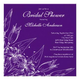 Elegant purple Lily Flower Bridal Shower Custom Invitation