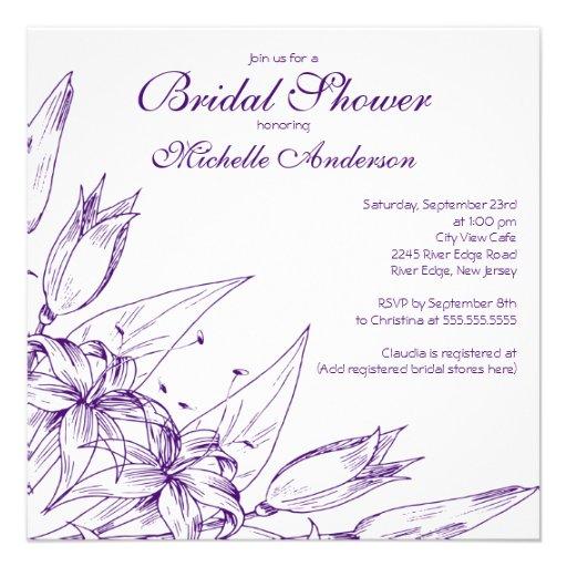 Elegant purple Lily Flower Bridal Shower Announcements