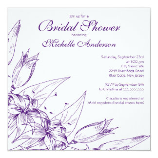 Elegant purple Lily Flower Bridal Shower 5.25x5.25 Square Paper Invitation Card