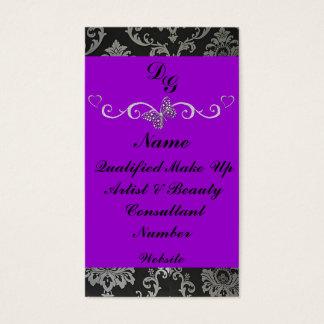 Elegant purple make up artist business card