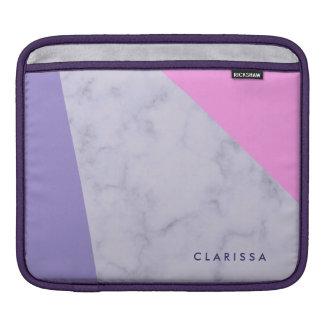 elegant purple marble pink purple color block iPad sleeve