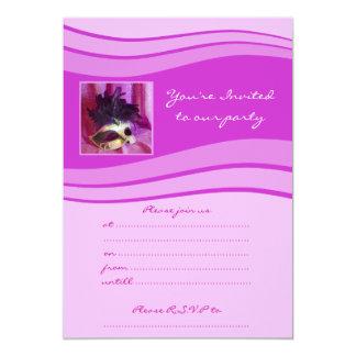 Elegant Purple Masquerade Mask 13 Cm X 18 Cm Invitation Card