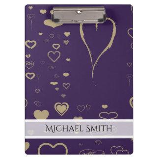 Elegant Purple Modern Heart Pattern Clipboard