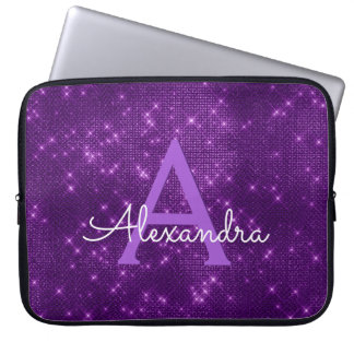 Elegant Purple Modern Sparkle Monogram Laptop Sleeve