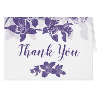 Elegant Purple Orchids Floral Thank You Card