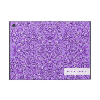 Elegant Purple Ornate Victorian Floral Swirls Cases For iPad Mini
