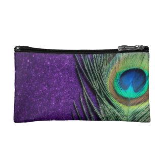 Elegant Purple Peacock Makeup Bag