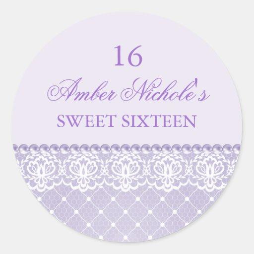 Elegant Purple Pearl & Lace | Sweet 16 Sticker