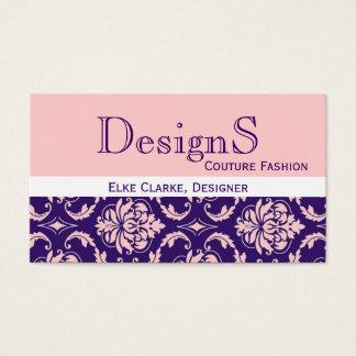 Elegant Purple Pink Damask Fashion Business Card