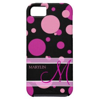 Elegant Purple & pink polka dots with monogram Tough iPhone 5 Case