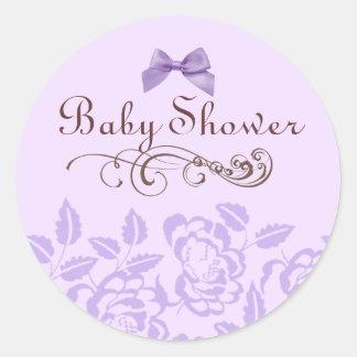 Elegant Purple Rose Baby Shower Envelope Sticker