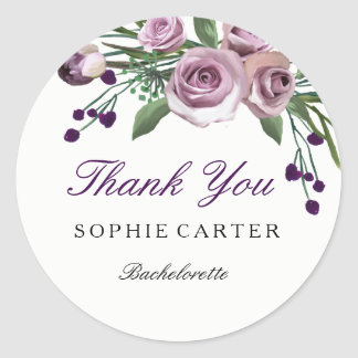Elegant Purple Rose Bachelorette Thank you Sticker