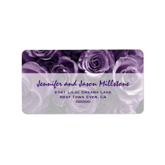 Elegant Purple Rose Bouquet Wedding Label Address Label