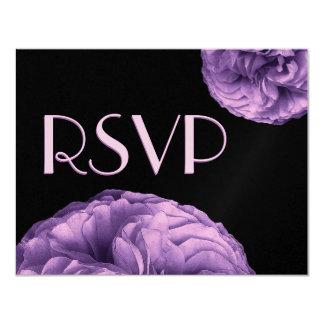 Elegant PURPLE Rose RSVP Wedding Response Card 11 Cm X 14 Cm Invitation Card