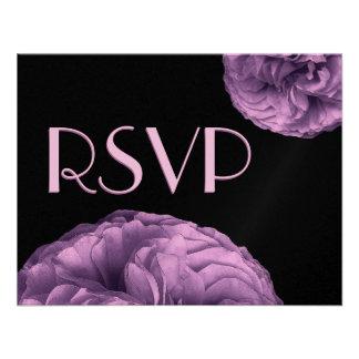 Elegant PURPLE Rose RSVP Wedding Response Card Invitation