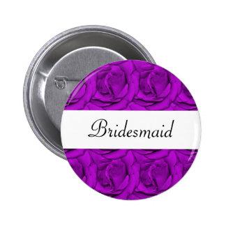 Elegant purple rose wedding name tags 6 cm round badge