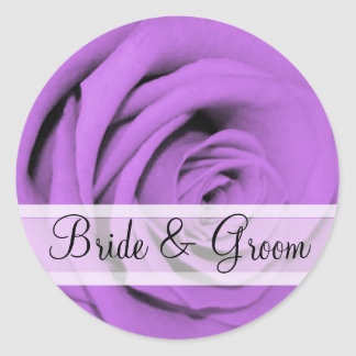 Elegant Purple Rose Wedding Stickers