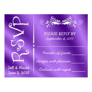Elegant Purple Satin Wedding RSVP Postcard