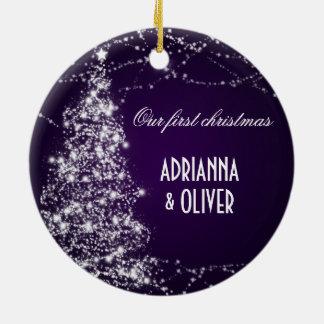Elegant Purple Shimmering Tree  First Christmas Ceramic Ornament