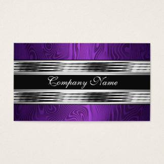 Elegant Purple Silver Black 2 Business Card